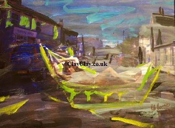 'Bembridge High St Nude on hammock' Photo painting A4 size £55 framed by BB Bango acrylic on paper. On display  Bembridge. Also postcards available. This picture painted August 2016 i