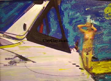 'Cruise boat Nude' Photo painting A4 size £55 framed by BB Bango acrylic on paper. On display  Bembridge. Also postcards available. This picture painted August 2016 i