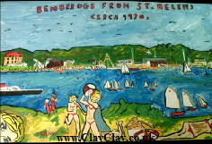 Bembridge from St Helens circa 1970s Based on original painting by BB Bango