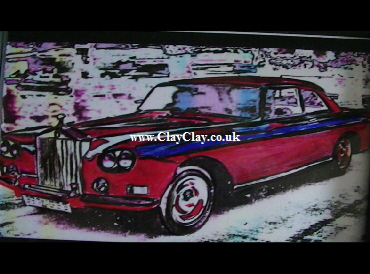 'Rolls Royce Silver Cloud 3 Mulliner Park Ward Continental 1965 (Chinese Eye)' by BB Bango. One of a selection of A4 sized acrylic on paper and framed original photo based paintings £60. On display Bembridge shop. Also postcards available. This picture was painted mid May 2013 .