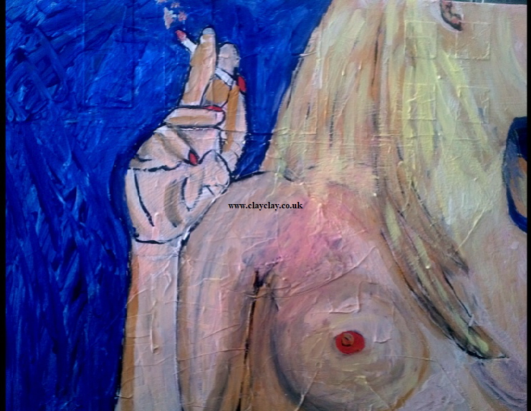 'Ciggy' by BB Bango. Acrylic on Canvas,   60*48cm and 5cm deep £175.. Also postcards available. This picture was painted 30th April 2013