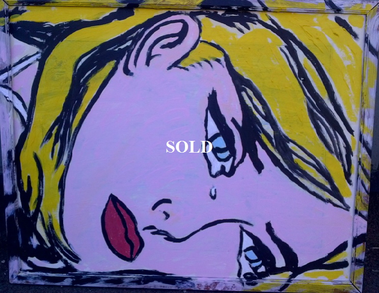 'Crying' by BB Bango. Acrylic on cardboard  framed 50*40cm SOLD.  Also postcards available. This picture painted 1st April 2013 . Influenced by 'DC Comics Strips from the early 1960 and of course Roy Lichtenstein.
