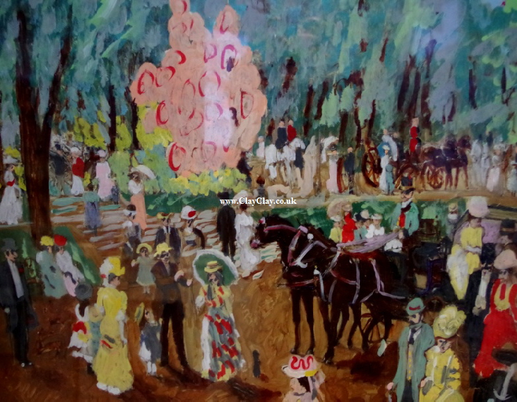 "'Carnival'  Painting by BB Bango in acrylic on paper Framed 24"" by 18""  £75 . On display Bembridge Shop"