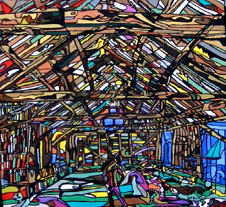 'Dutch Barn 2' by  BB Bango. One of a series of large canvases depicting Barns with many hidden images. Acrylic on canvas.  900 by 1200mm Framed. Also postcards available. This picture was painted in January 2014  and will be on display (From 27/5/2015) at The Llewellyn Alexander Gallery in Waterloo London  £1,250 .This picture was submitted to the Royal Academy Summer Exhibition 2015, but not shortlisted