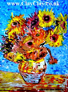 "Wight Sunflowers Postcard basedcon 20*16"" painting (now sold) by Vincent Van Bango"