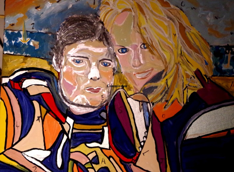 'Alex and Joy' Commission by BB Bango 50 by 70cm acyrlic on canvas from photograph