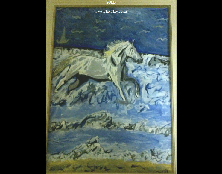 'Horse loving the wave breakers' by BB Bango. Acrylic on paper, framed and glass.  40*30cm SOLD.  Also postcards available. This picture was painted 24th April 2013