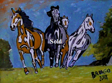 'Four Horses' by BB Bango. One of a selection of A4 sized acrylic on paper and framed original photo based paintings £40. On display Bembridge shop. Also postcards available. This picture was painted mid May 2013 .