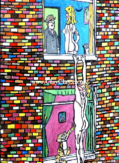 Saucy. 'Man hanging from window.' A painting by BB Bango