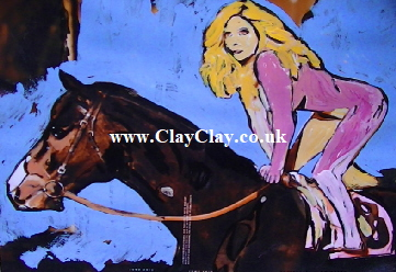 'Horse Lady' by BB Bango. One of a selection of A4 sized acrylic on paper and framed original photo based paintings £40. On display Bembridge shop. Also postcards available. This picture was painted July 2013.