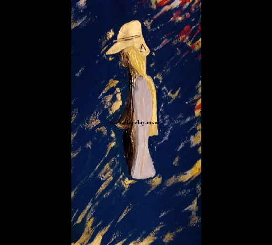 'Lady in a gold hat' Acrylic on paper A3 size by BB Bango   £65