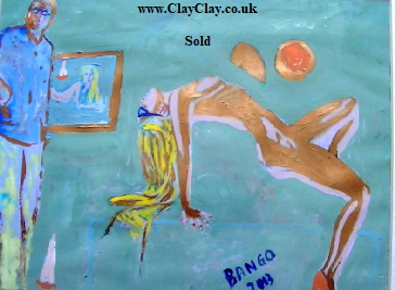 'Blue Nude' by BB Bango. One of a selection of A4 sized acrylic on paper and framed original photo based paintings SOLD. On display Bembridge shop. Also postcards available. This picture was painted late May 2013 .