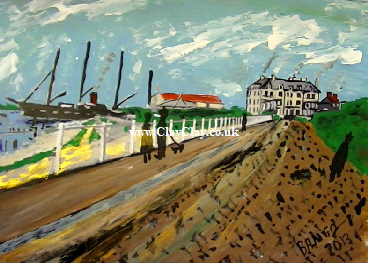 'Early 1900s Spithead Hotel Bembridge ' by BB Bango. One of a selection of A4 sized acrylic on paper and framed original photo based paintings £40. On display Bembridge shop. Also postcards available. This picture was painted late May 2013 .