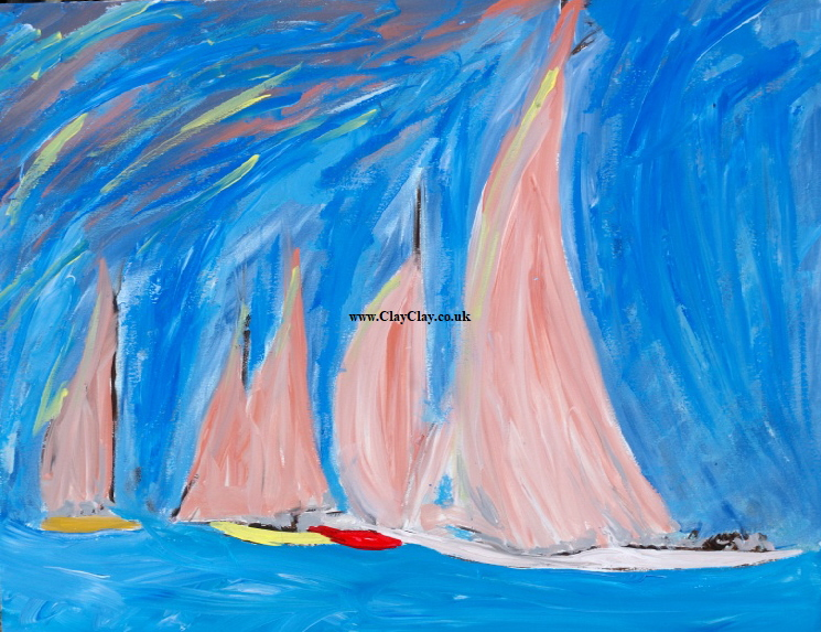 'Five Pink Sails' 20 by  30 inches by BB Bango. March 20th 2016 Acrylic on canvas.  £100