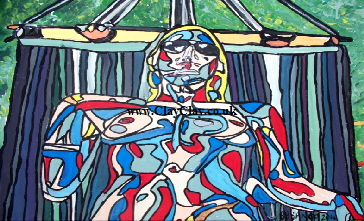 'Hammock nude'  Damaged Painting by Bango Acrylic 75*60cm on canvas.  £60.