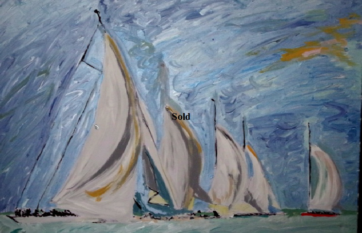 'J Class2' by BB Bango. Acrylic on canvas   36*24 inches Sold.  Also postcards available. This picture painted 4th May 2015 .