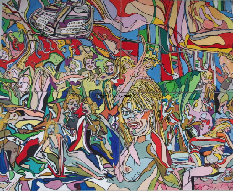 'The Party'  Painting by BB Bango in acrylic on canvas 8ft by 6ft on four canvasses £1,250.  One of four canvasses now sold bottom right