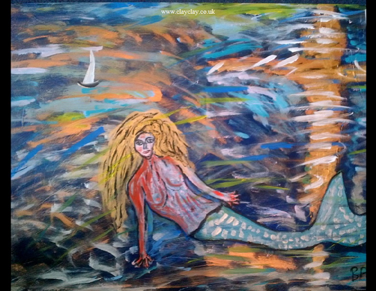 'Mermaid 3' by BB Bango. Acrylic on canvas.  90*60cm £115.  Also postcards available. This picture painted 8th April 2013 is influenced by E Munch and is the third in the popular 'Mermaid' series.