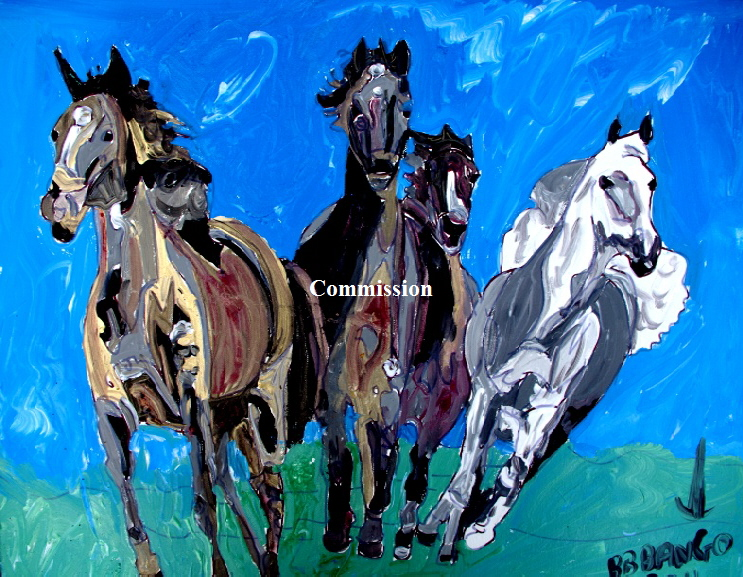 "'Sea Horses 2'    Painting by BB Bango in acrylic 30"" by 24""  Commission."