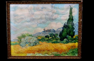 Bought at local Auction October 2016. Nothing know about this original painting apart for fact it was presented as a gift to the Warden of Bembridge School Mr J H Whitehouse 13 February 1938 by his friends and Mr Macdonald and Sutcliffe. Initials POG in bottom right hand corner. Original painting 'After Van Gogh'' Framed 37 inches by 29 inches. On display Bembridge Shop
