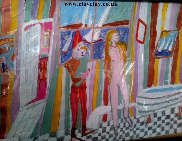 'La Toilette de la Mere' by BB Bango. Acrylic on paper. Framed and glass  40*28cm £25. On display Bembridge shop. Also postcards available. This picture painted 10th March 2013 is influenced by an etching (original of which is in Bembridge shop) by Pablo Picasso.