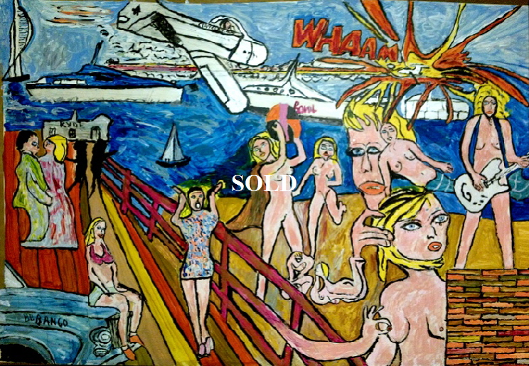 Ryde Pier Beach by BB Bango. Acrylic on Paper. Framed and glass.  75*50cm SOLD.. Also postcards available. This picture painted 12th April 2013 shows some of Bango's influences and likes - The Scream by E Munch ,  Roy Lichtenstein, Pablo Picasso, Jack Vettriano and the School of Clouet (Duchess of Villars, Gabrielle d'Estrees), Brick making, Rolls Royces, glamour models, Spinnaker Tower, Ryde Pier Head, sailing, Hot Bovril and Fairey Huntsman Offshore Powerboats, music (EspadaRolls) and guitars and nudes with glimpses of Isle of Wight's St Helens Fort and the old 3 funnelled Queen Mary Liner but the most striking is the aircraft shooting another down in 'Whaam' reflecting the relentless bombing raids over Portsmouth in the Second World War. This picture flows and each image leads to another.