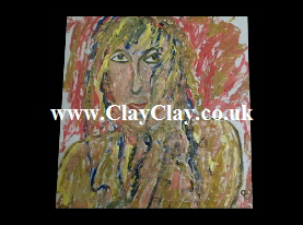 'Abstract Robyn 2' by BB Bango. Acrylic on Paper.  Framed, glass 29*20cm £20. On display Bembridge shop. Also postcards available. This picture painted 20th April 2013 is based on an 'EspadaRolls' Glamour model photo shoot for the 'Tacky..... Original Music' music videos.