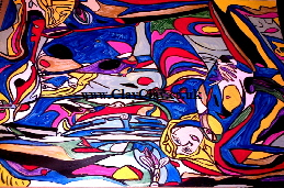 'SpinArt 5 Nudes' C- 4 ways of looking at the picture - the right way, upside down or each side' by M Hunt aka BB Bango. £400 70*50cm Acrylic on paper framed. This picture was painted September 6th 2013  and is also on the SaatchiOnline.com web site at $500.