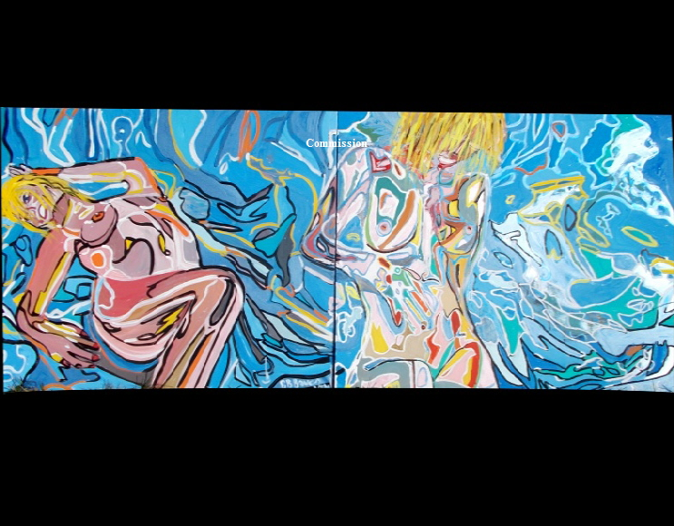"'Psycho Nude 1 &2'    Paintings by BB Bango in acrylic on canvas. Total picture size 80 by 30"" Commission for London Film Producers Studio"