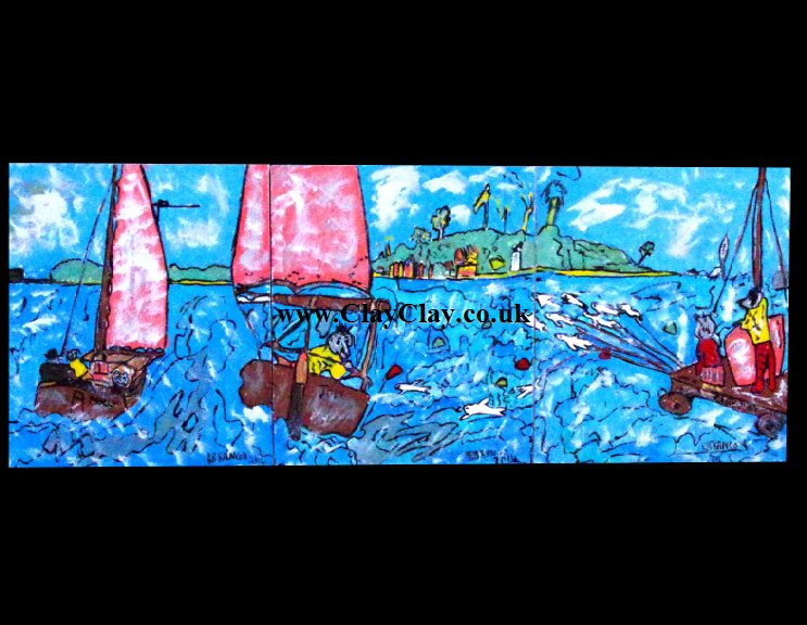 "'Joey 'comehere'and Molly 'stopIt' Dogs to Sea in Bembridge'    Painting by BB Bango in acrylic 60"" by 20"" on three canvasses of 20*20"" each £450 (£150 per casnvas)"