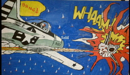 Wham  (after Roy Lichtenstein) by Bango 90 by 60cm acrylic on canvas £135 On display ClayClay shop