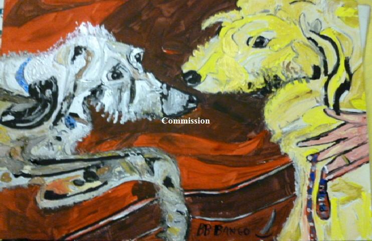 "'Joey and Phoebe  Two Lurchers on a sofa'  Commission for Essex based Veterinary Practice painted by BB Bango 20*16"" Acrylic on canvas board. Dog and Pet Commissions. E mail us a photo and BB Bango will do an Original Pop Art (Black lines, loads of colours as per '60s Dada  artwork) Caricature of you r dog or pet for just £65 (onto 20*16"" canvas board in acrylic plus UK postage. Turnaround 3 days from order"