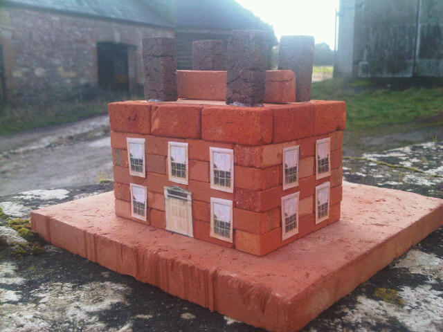 Small Georgian House. Clay Clay Miniature Brick Building Kit. slightly different roof structure.
