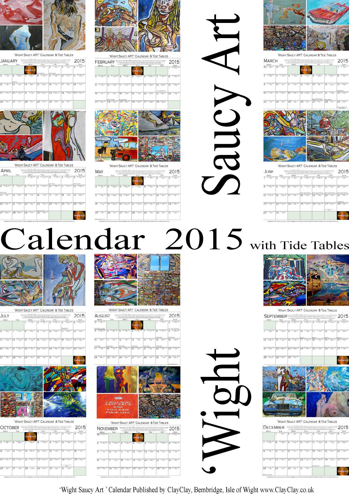 '12 Month Calendar Wight Saucy Art 2015 One Month per page. this is the cover sheet. £8.00 plus postage £2.50