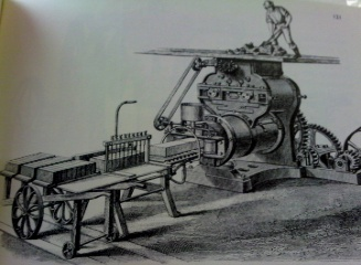 Extruder, fed by man and wire cutter Clayton machine 1860