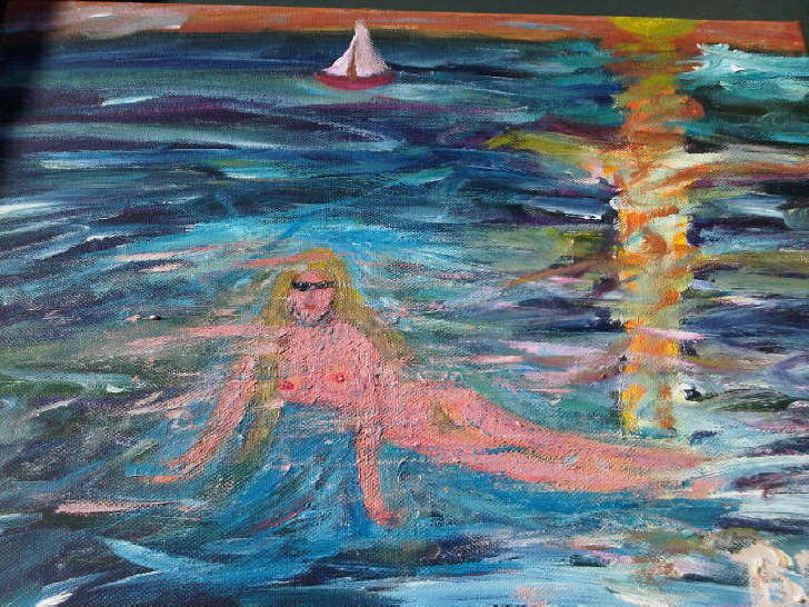 Acrylic on paper Mermaid nude SOLD
