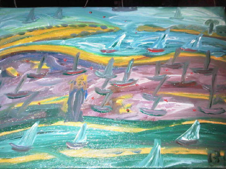 Oil on Canvas Solent Racing 2 Sold