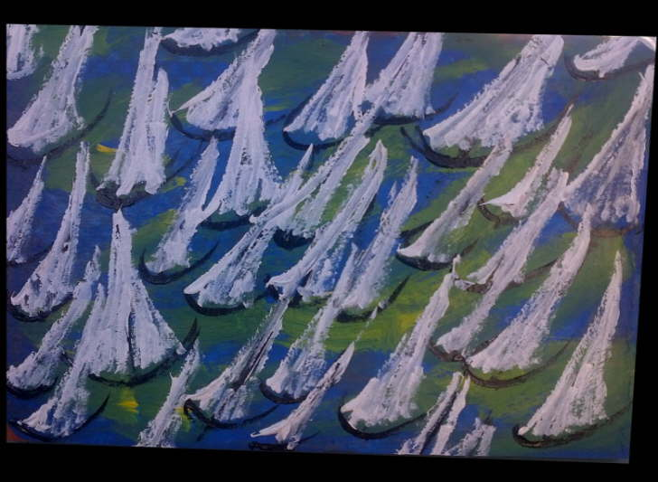Acrylic on Terracotta 200*300mm Sails 6 £15