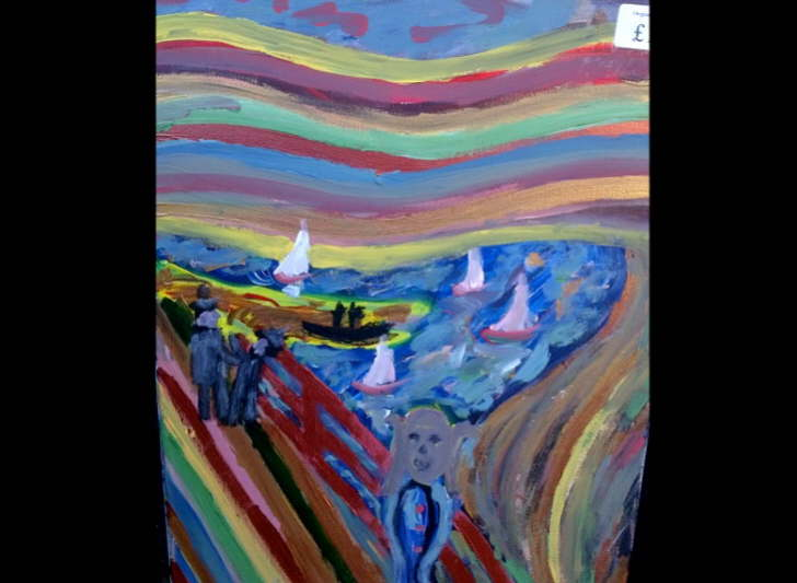Acrylic on canvas Scream at Lymington 300by410mm £15
