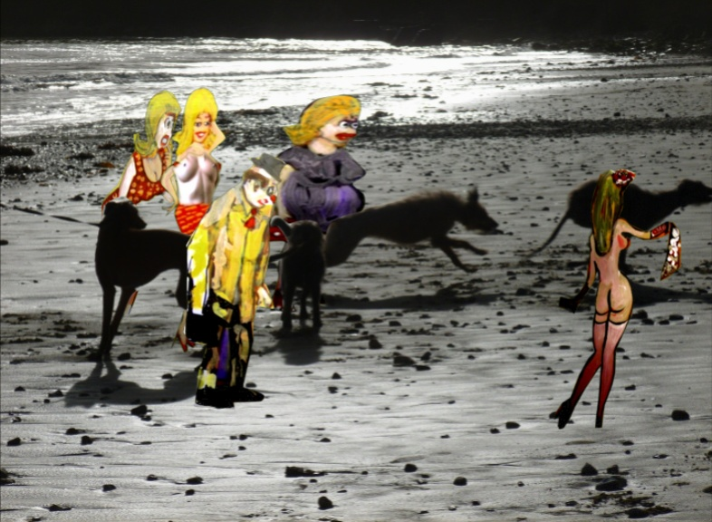 'Saucy dogs on the beach at Piory Bay'. Postcard based on original Bango Photograph and paintings of figures