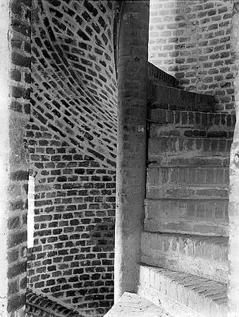 This spiral stair at Faulkbourne Hall, dating from before 1494, shows the versatility of brick as a construction material.