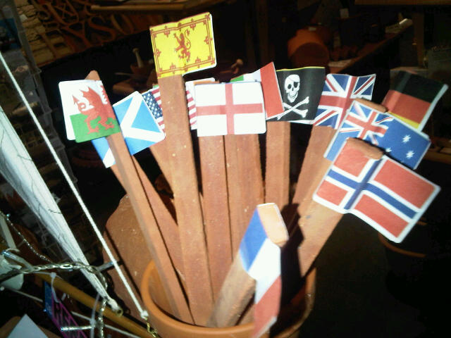 Beach Flags. Set of terracotta flagpoles
