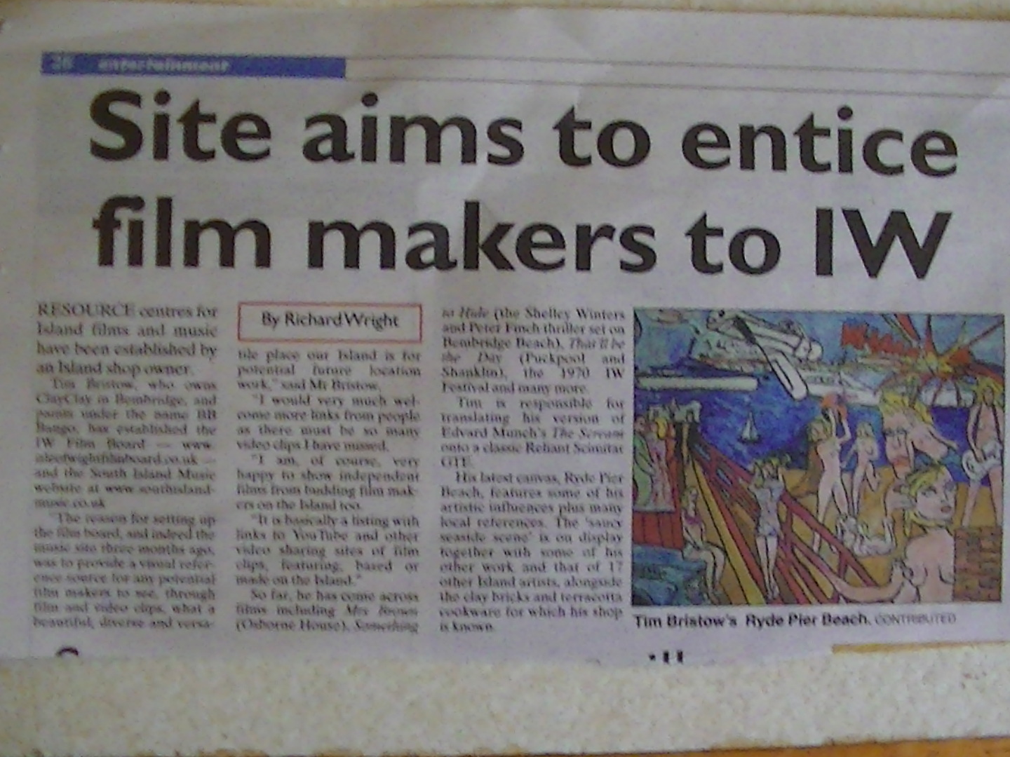 Article in Isle of wight County Press Friday  10th May 2013