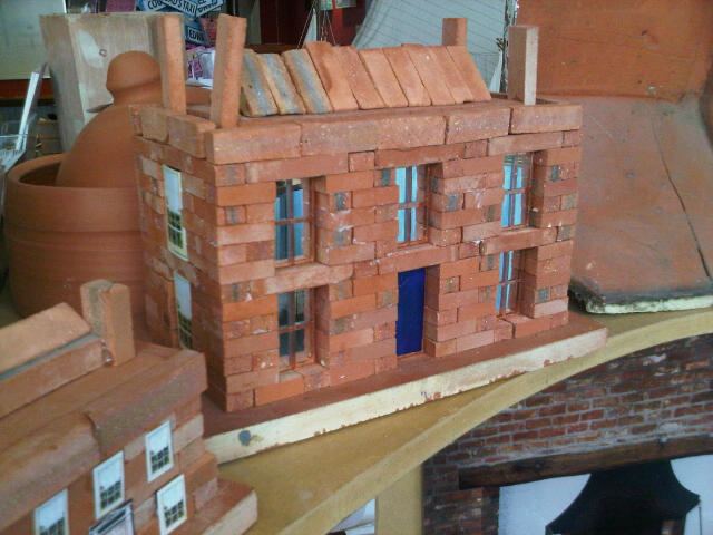 Large Georgian House Clay Clay Brick Building Kit with glass and metal windows installed.