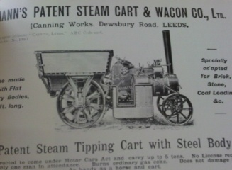 Manns Steam Cart for transporting bricks 1902