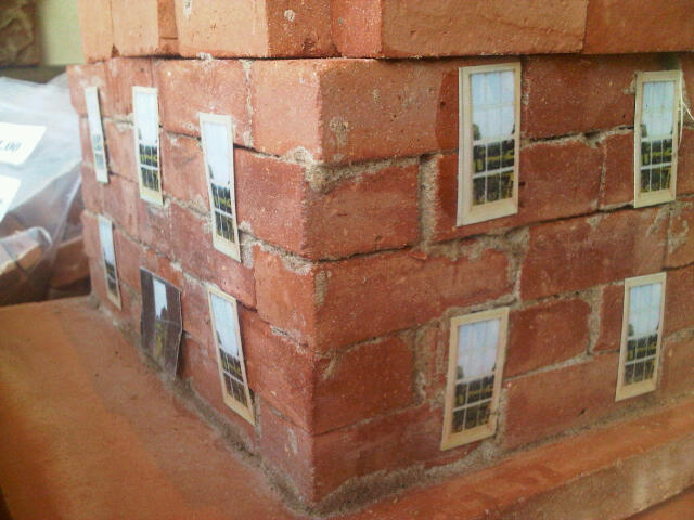 Mortared in Maxi bricks on Georgian House kit using powdered mortar