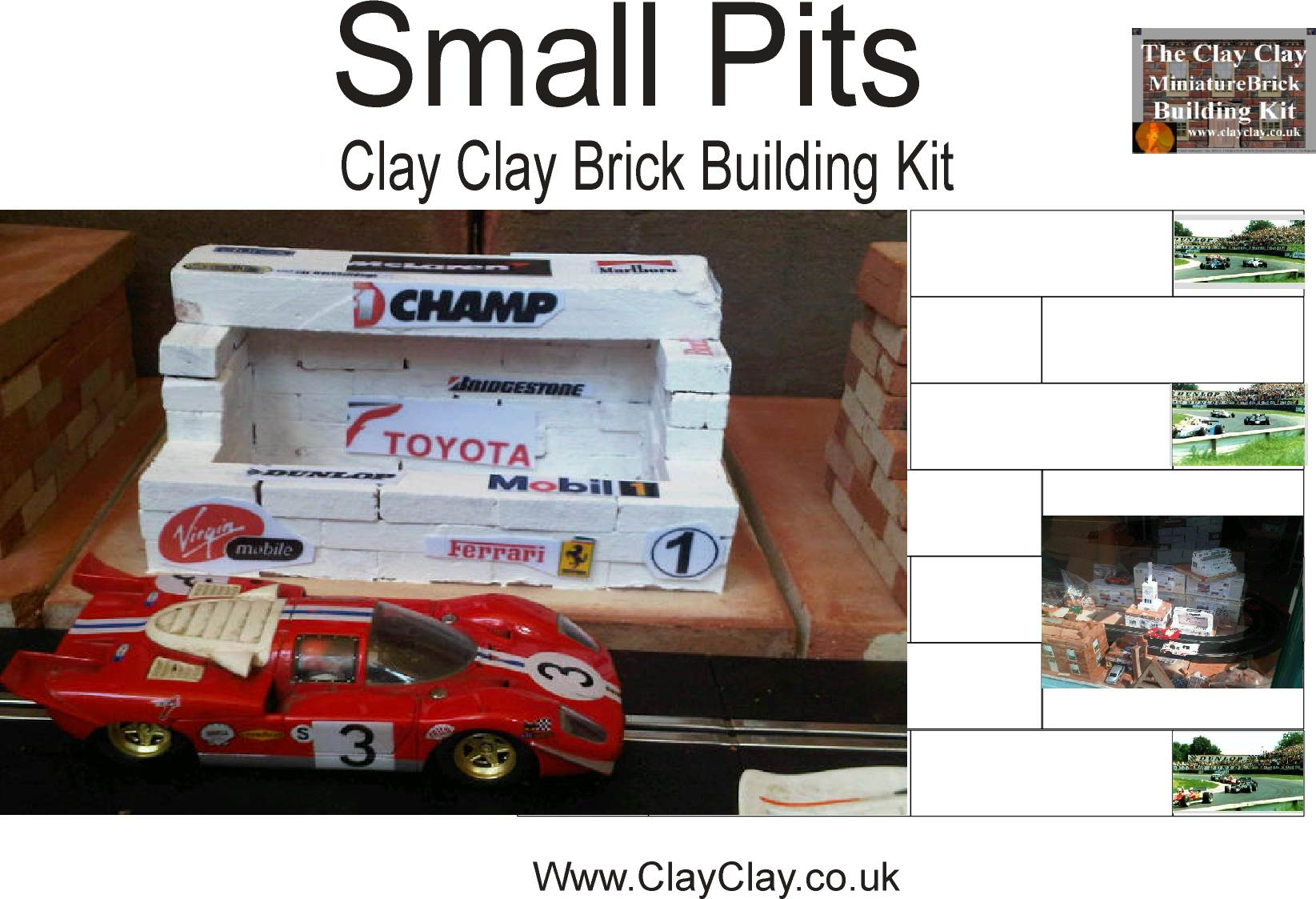 Pits. Also Control Building,  Restaurant, Grandstand. Similar to original range of plastic Scalextric Goodwood race buildings but in clay - built from mini bricks, painted (or not) and decals added.