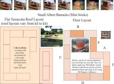 Small Albert Barracks Floor Plan 1. Clay Clay Miniature Brick Building Kit