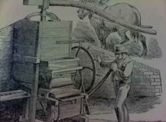 Pugmill for mixing clay - horse powered. 1846