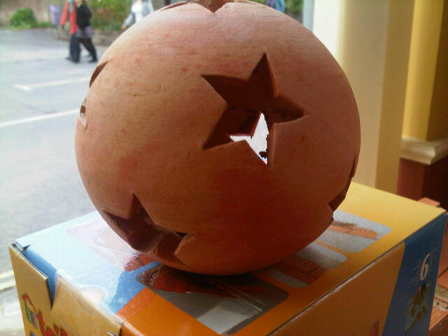 Terracotta Star Light. 15 cm Diameter, 14 cm Height. Great for Christmas. Stick a tealight in it for that extra sparkle. £7.99 in stock in the shop